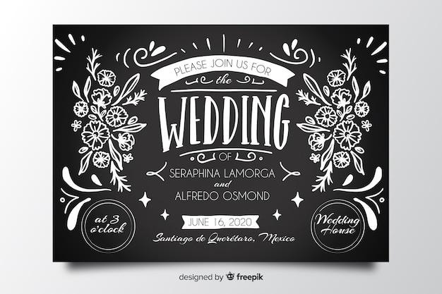 Vintage bruiloft uitnodiging op blackboard sjabloon