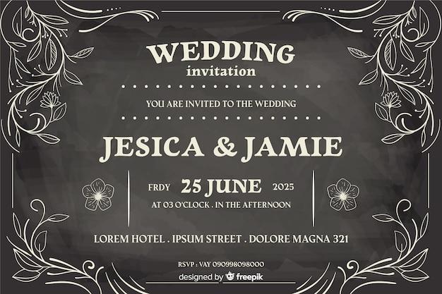 Vintage bruiloft uitnodiging op blackboard