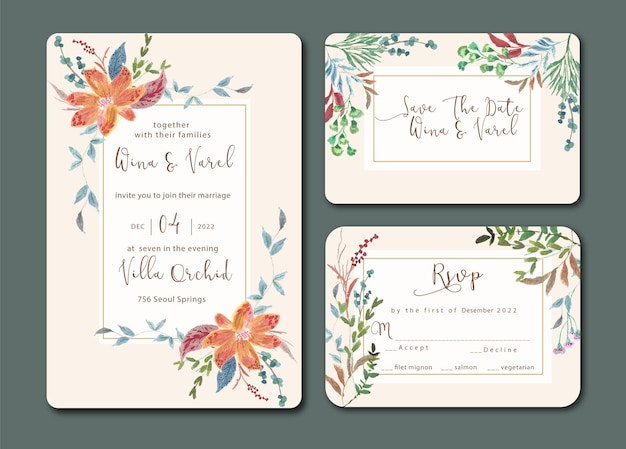 Vintage bruiloft uitnodiging set met verse bloemen aquarel