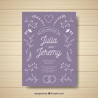 Vintage bruiloft uitnodiging sjabloon met florale stijl