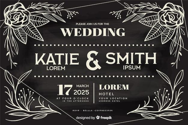 Vintage bruiloft uitnodiging sjabloon op schoolbord