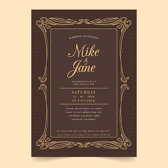 Vintage bruiloft uitnodiging
