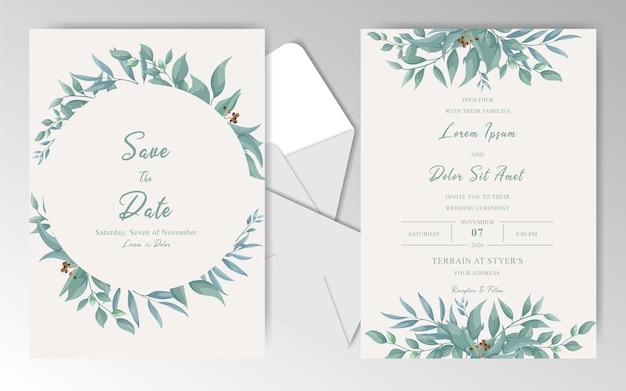 Vintage bruiloft uitnodigingskaarten sjabloon met groen bladeren en aquarel