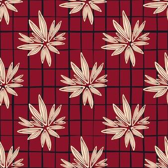Vintage bud naadloze patroon op rode achtergrond. retro bloemenbehang.