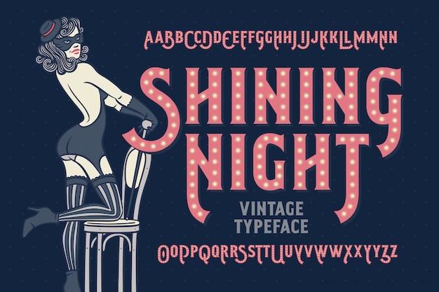 Vintage cabaret stijl lettertype met mooie danseres