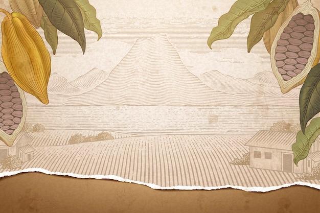 Vintage cacaoboom en natuurveld in gravurestijl, gescheurde papiertextuur