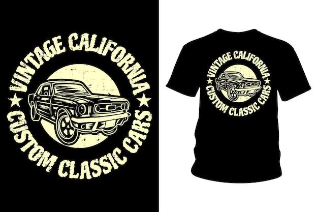 Vintage californië aangepaste klassieke auto's tekst t-shirt ontwerp
