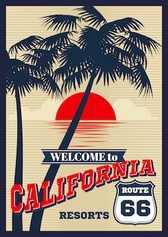 Vintage californië vector zomer poster