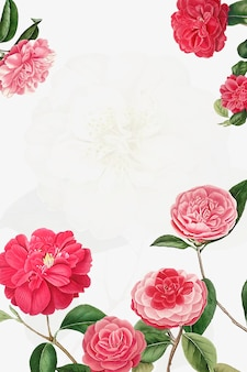 Vintage camellia frame vector