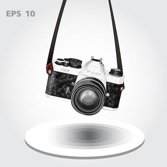 Vintage camera of retro camera vector