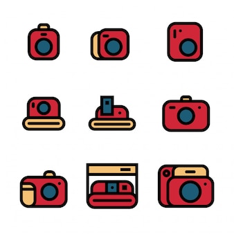 Vintage camera pictogrammenset vectorillustratie