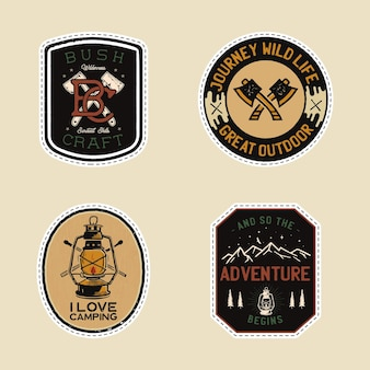 Vintage camp patches logo's, berg badges set