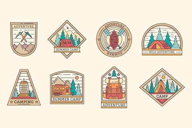 Vintage camping & avonturen badges sjabloon set Premium Vector