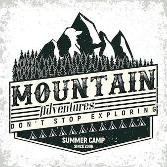 Vintage camping of toerisme logo ontwerp, grange print stempel, creatieve typografie embleem