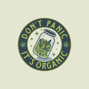 Vintage cannabis badge hand getrokken illustratie