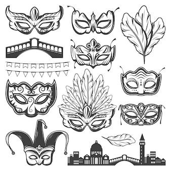 Vintage carnaval elementen van venetië set met venetiaanse stadsgezicht brug verschillende maskers veren en krans geïsoleerd