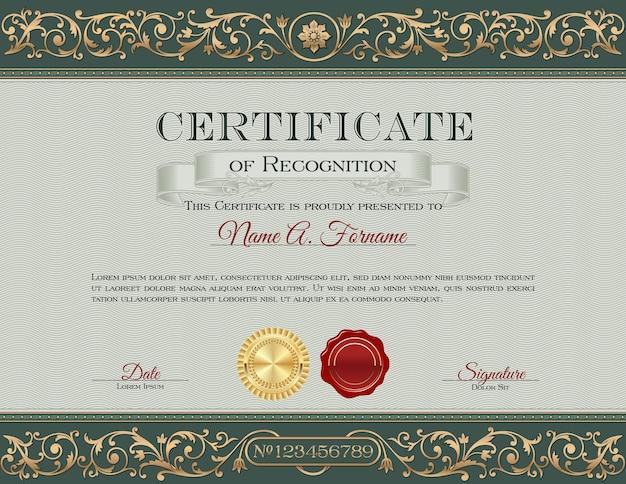Vintage certificaat van erkenning