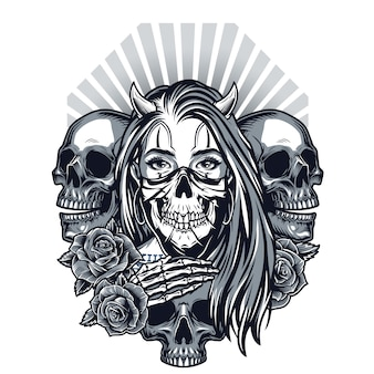 Vintage chicano stijl tattoo concept