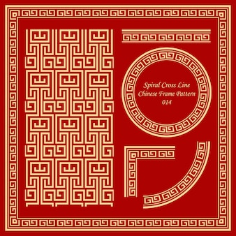 Vintage chinese frame patroon ingesteld spiraal kruislijn