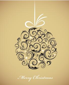 Vintage christmas bal met een retro ornament op een gouden achtergrond. illustratie sjabloon