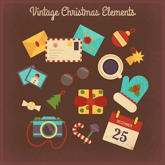 Vintage christmas elementen collectie