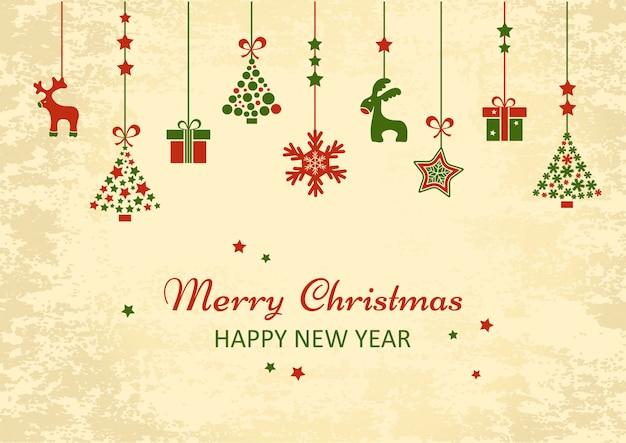 Vintage christmas new year wenskaart. vakantie hangende speelgoed kerstboom, geschenkdozen, rendieren, sneeuwvlok. vector illustratie