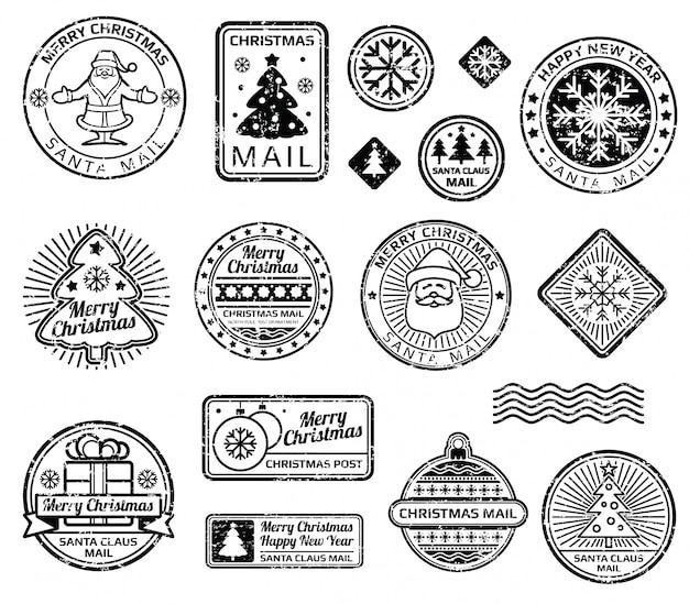 Vintage christmas postzegels vector set. kerstmis zwarte zegel, kerstmis en nieuwe jaarillustratie