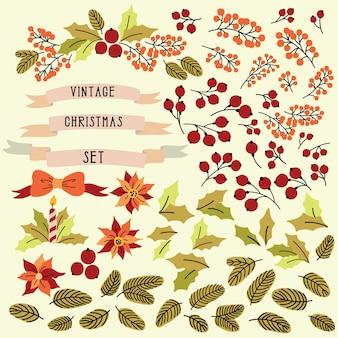 Vintage christmas set met geïsoleerde elementen, bloemen, bladeren en bessen.