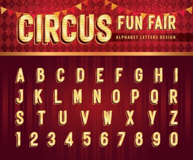 Vintage circus alfabet letters en cijfers retro verkort alfabet met schaduwlettertypen