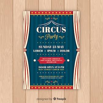 Vintage circus partij uitnodiging kaartsjabloon