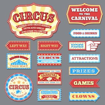 Vintage circusetiketten en carnaval uithangborden vector collectie