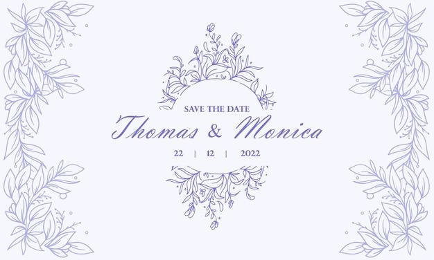 Vintage cirkel blauwe hand getrokken bloemen bruiloft uitnodiging achtergrond