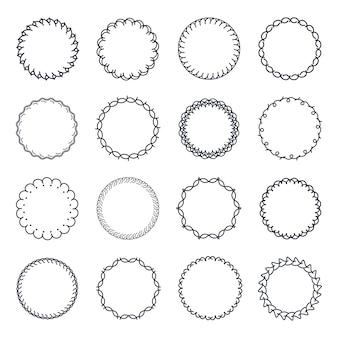 Vintage cirkel frame vector set