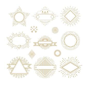 Vintage cirkel sunburst lijn emblemen