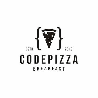 Vintage code pizza-logo
