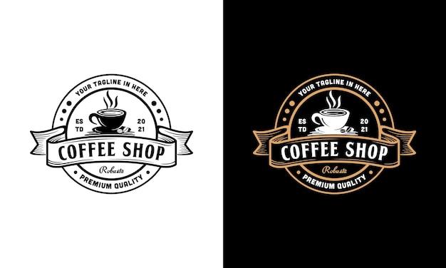Vintage coffeeshop logo ontwerp. stempel, label, badge ontwerpsjabloon inspiratie