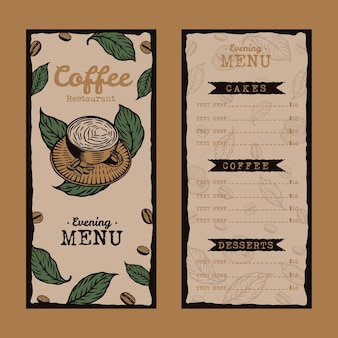 Vintage coffeeshop restaurant menusjabloon hand getrokken ontwerp