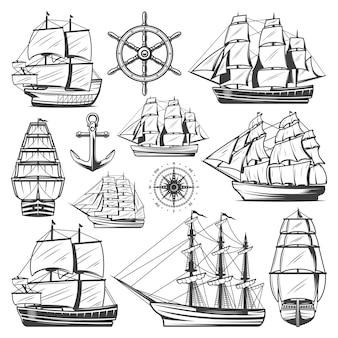 Vintage collectie grote schepen met verschillende boten boten stuurwiel anker