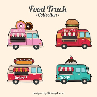 Vintage collectie handgetekende voedselwagens