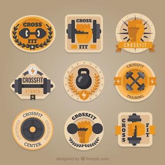 Vintage collectie van crossfit stickers