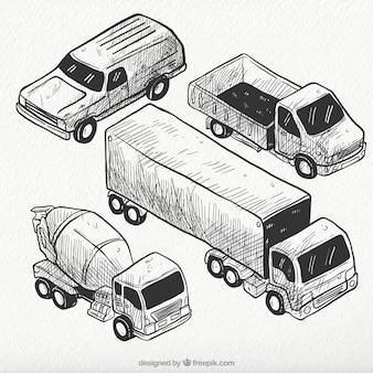 Vintage collectie van isometrische voertuigen