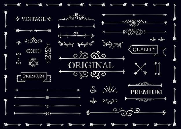 Vintage collectie van vectorlabels, banners, tekstverdelers. premie