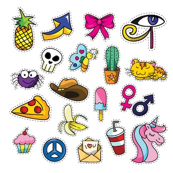 Vintage cool girly fashion patch cartoon afbeelding