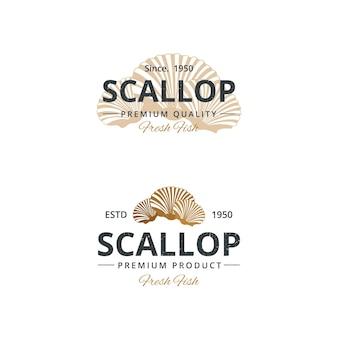 Vintage coquille logo sjabloon voor restaurant