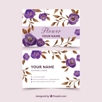 Vintage corporate kaart met paarse bloemen