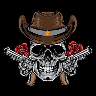 Vintage cowboy schedel vector illustratie premium