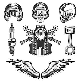 Vintage custom motorcycle elementen en onderdelen