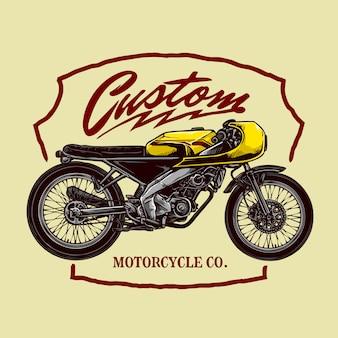 Vintage custom motorfiets badge ontwerp