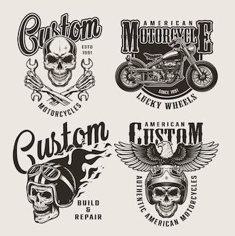 Vintage custom motorfiets badges
