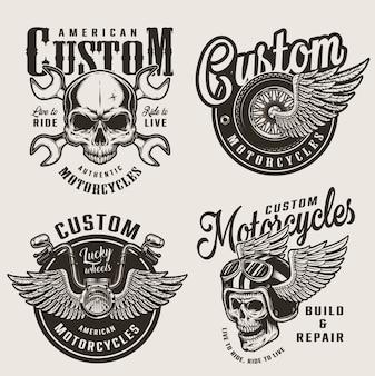 Vintage custom motorfiets emblemen